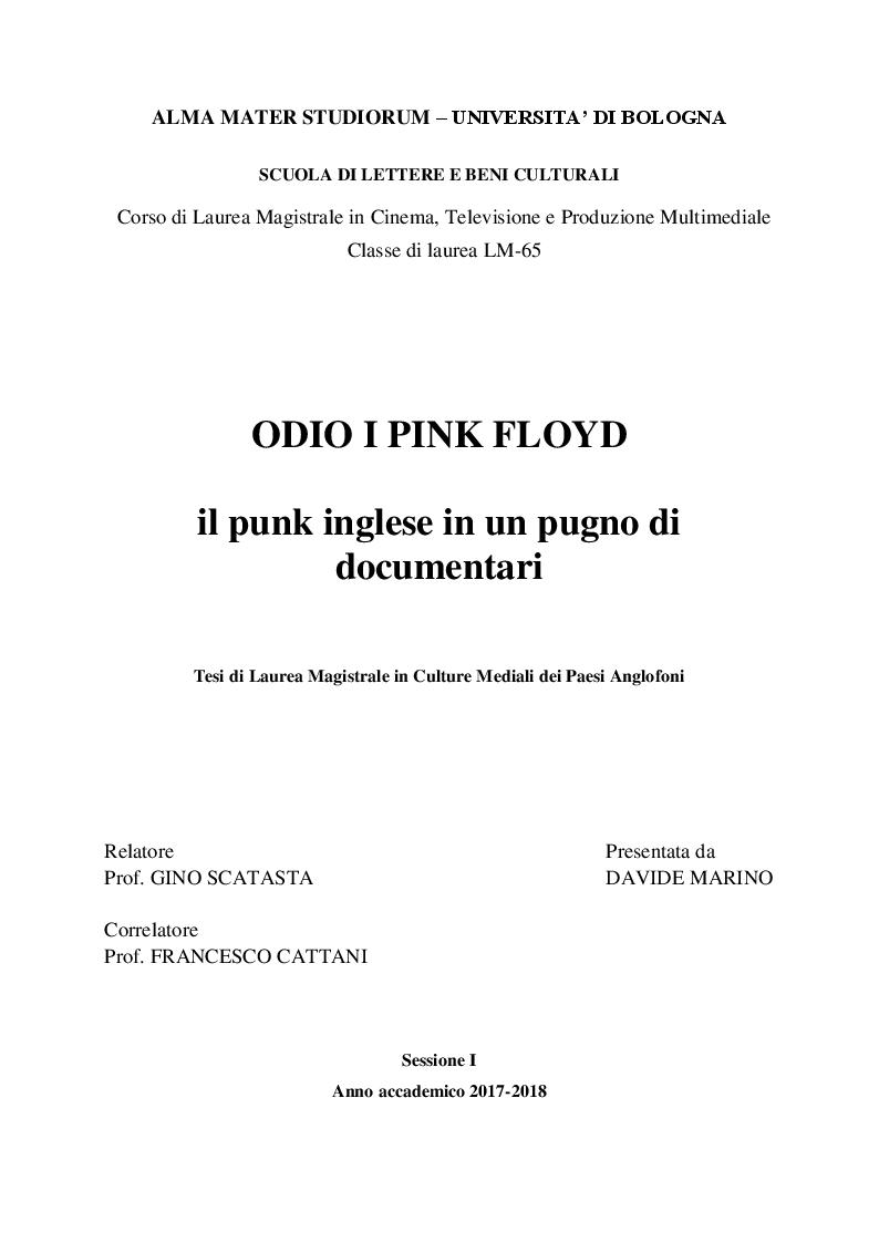 Anteprima della tesi: Odio i Pink Floyd - il punk inglese in un pugno di documentari, Pagina 1