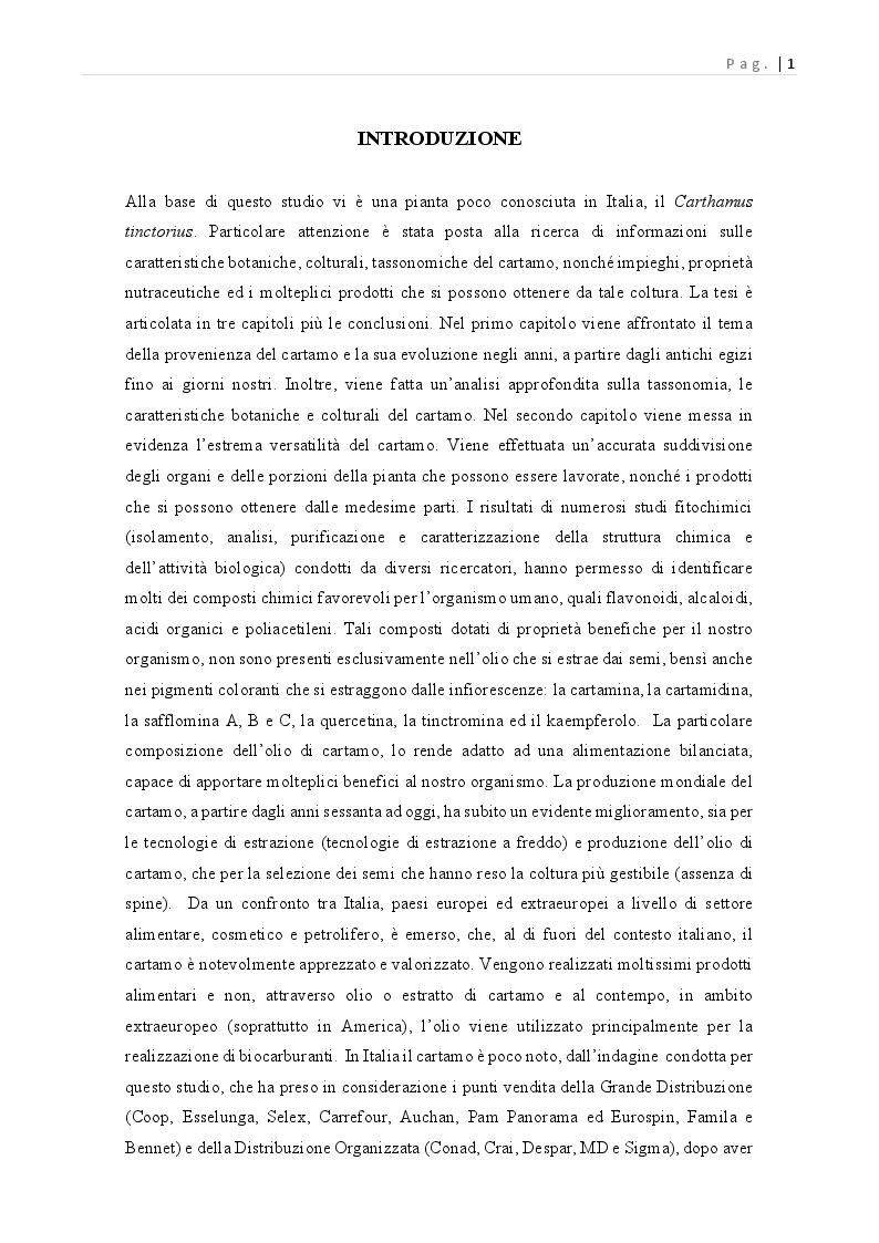 Anteprima della tesi: Carthamus tinctorius: opportunità di impiego alimentare, Pagina 2