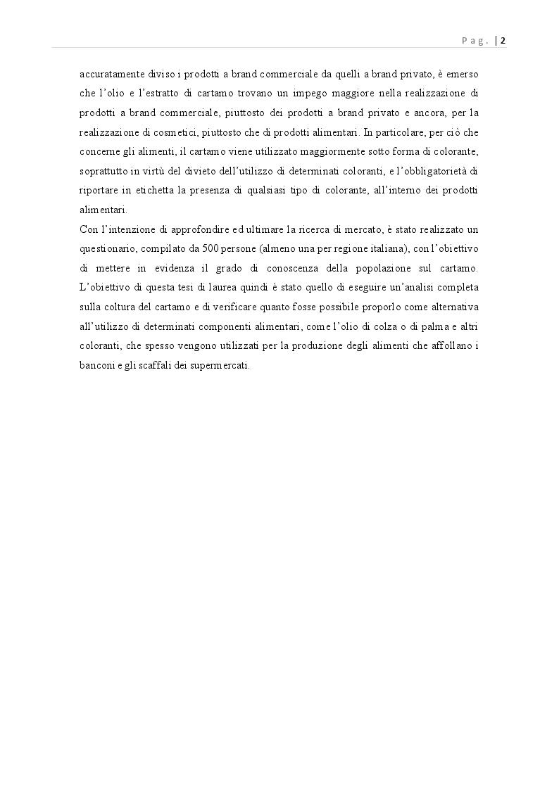 Anteprima della tesi: Carthamus tinctorius: opportunità di impiego alimentare, Pagina 3
