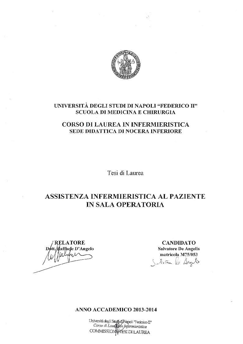 Anteprima della tesi: Assistenza infermieristica al paziente in sala operatoria, Pagina 1