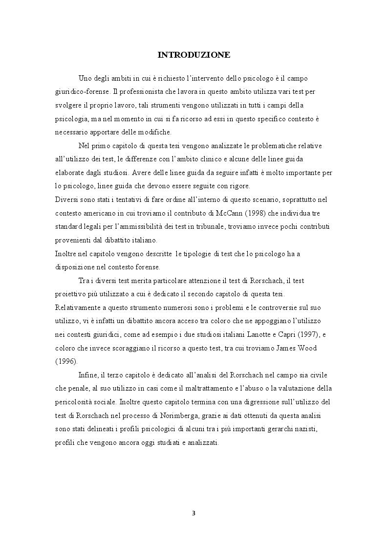 Anteprima della tesi: L'uso dei test in psicologia giuridica. Il test di Rorschach, Pagina 2