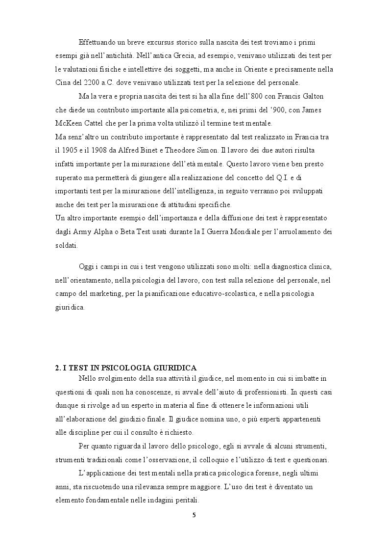Anteprima della tesi: L'uso dei test in psicologia giuridica. Il test di Rorschach, Pagina 4