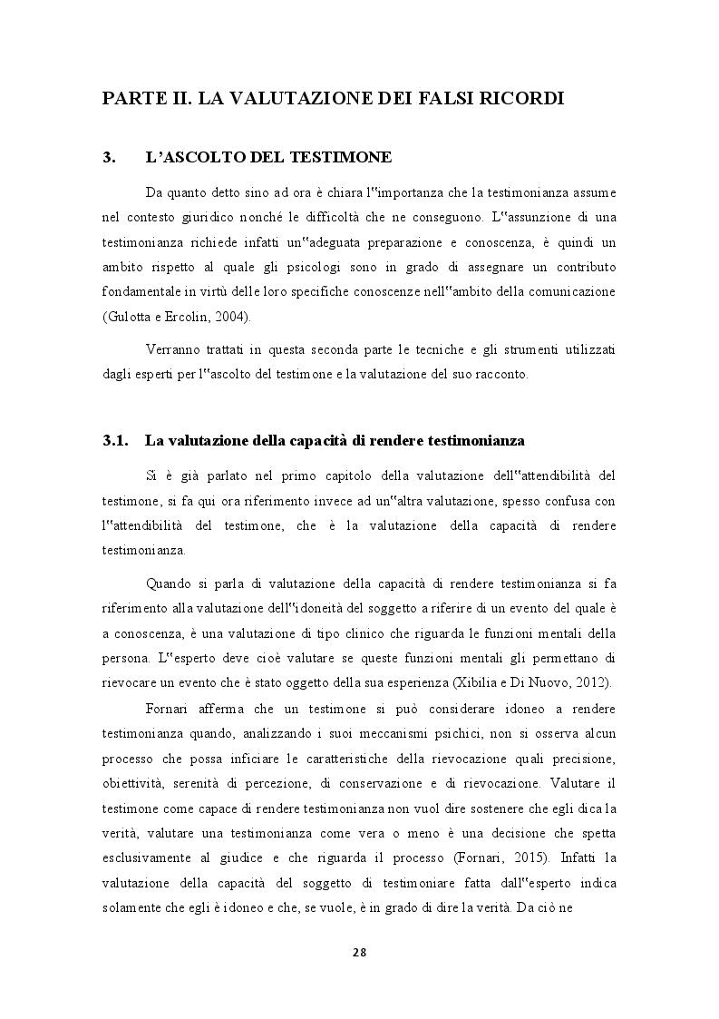 """Anteprima della tesi: Testimonianza e valutazione dei falsi ricordi. La """"macchina della memoria"""" nel contesto giuridico italiano, Pagina 2"""