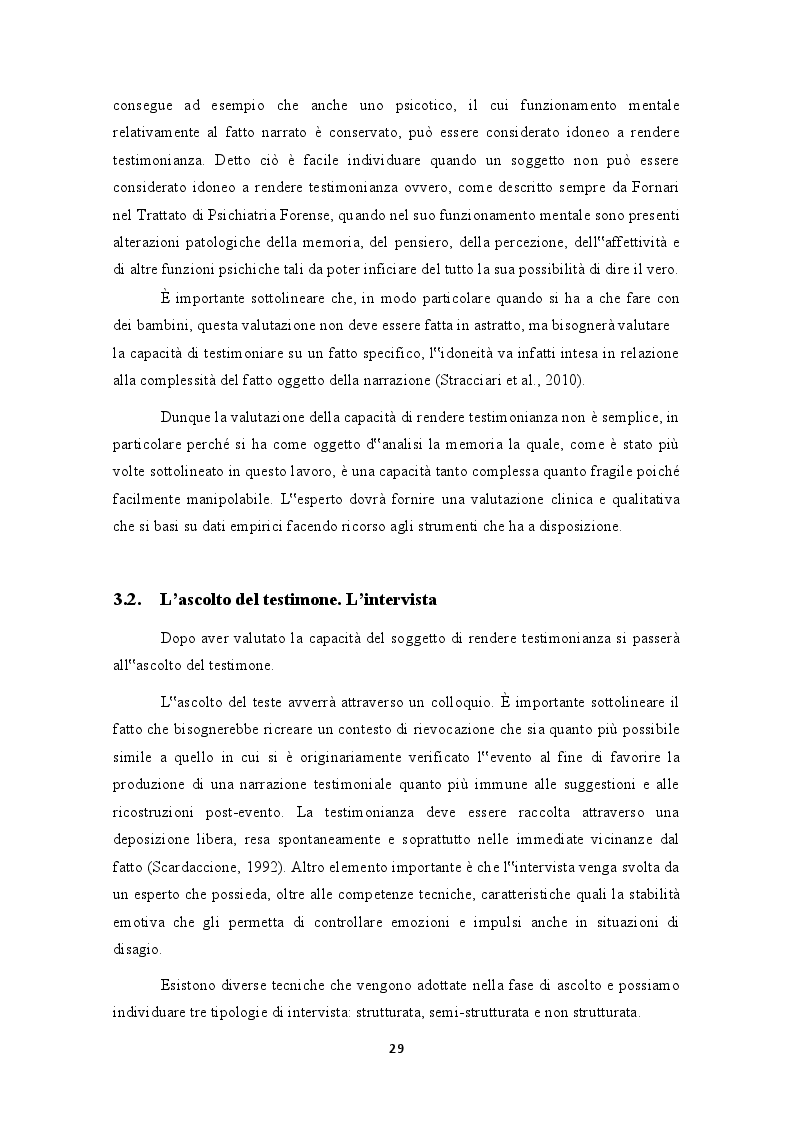 """Anteprima della tesi: Testimonianza e valutazione dei falsi ricordi. La """"macchina della memoria"""" nel contesto giuridico italiano, Pagina 3"""