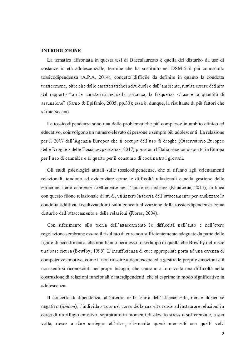 Anteprima della tesi: Il disturbo da uso di sostanze in adolescenza: lettura e prevenzione alla luce della teoria dell'attaccamento, Pagina 2