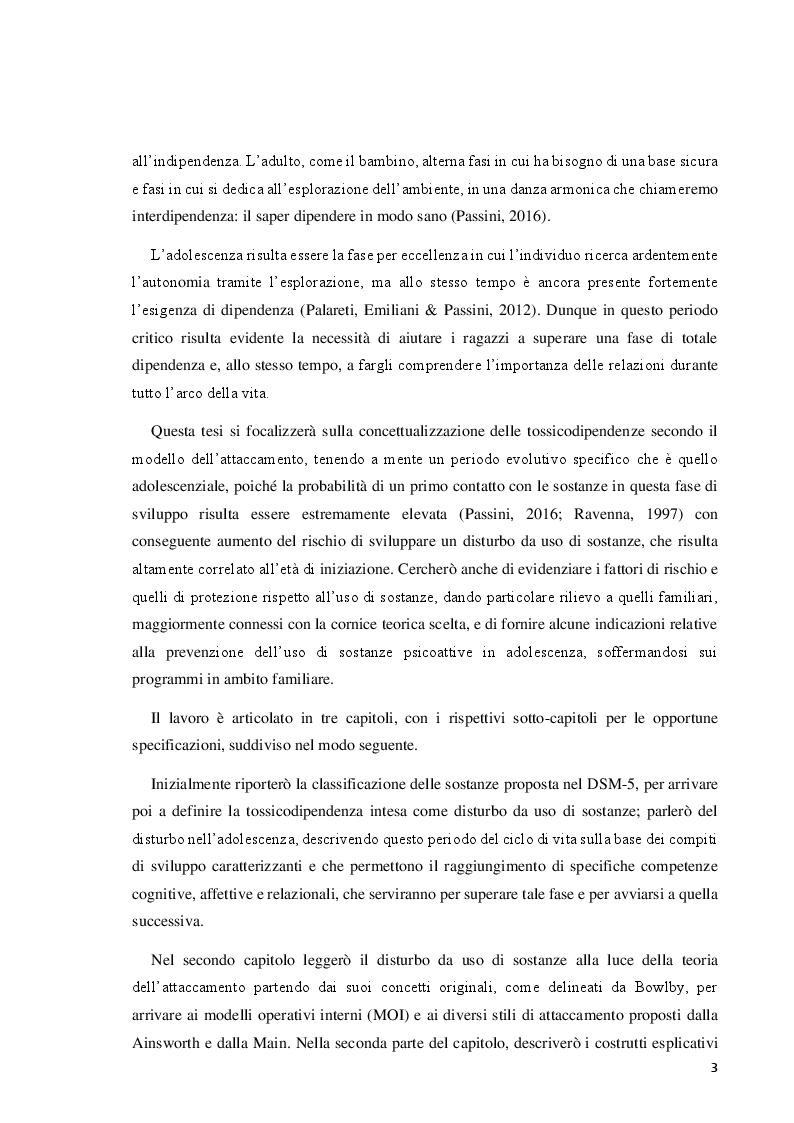 Anteprima della tesi: Il disturbo da uso di sostanze in adolescenza: lettura e prevenzione alla luce della teoria dell'attaccamento, Pagina 3