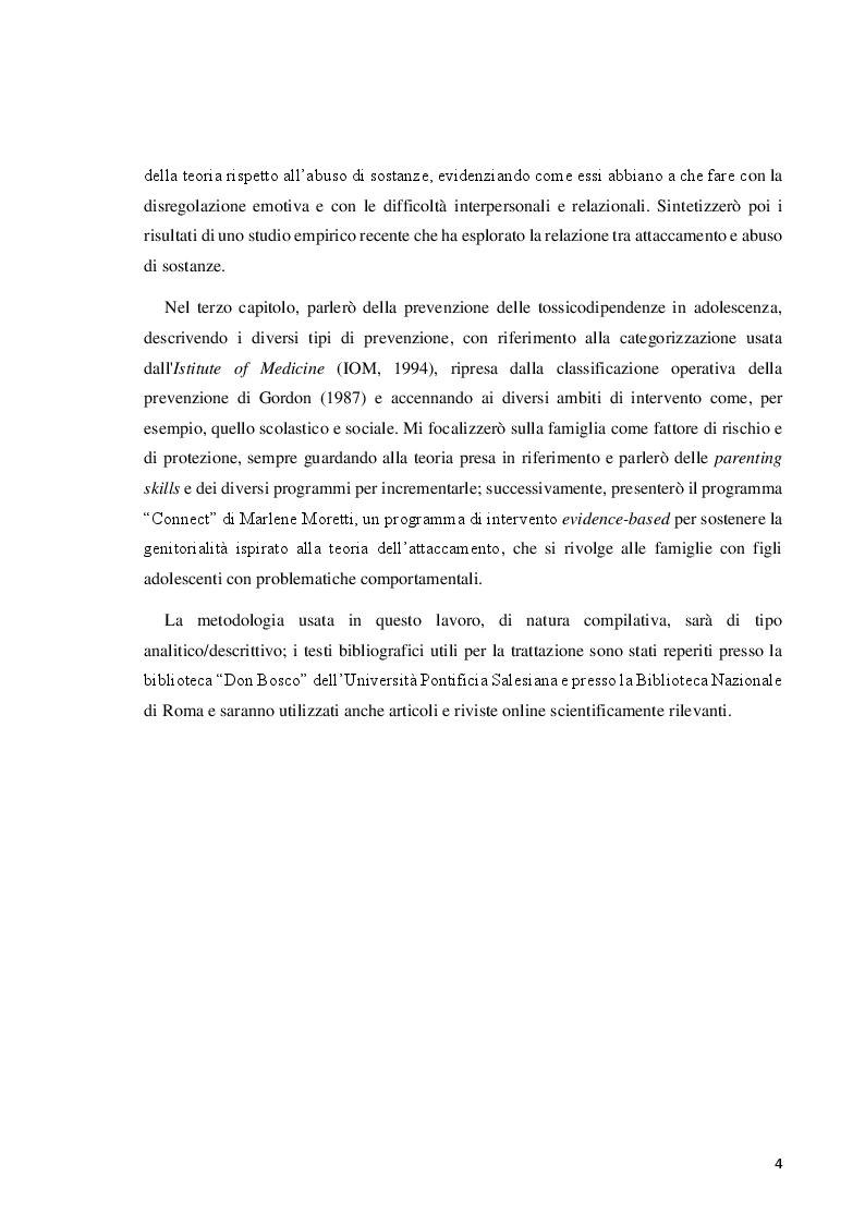 Anteprima della tesi: Il disturbo da uso di sostanze in adolescenza: lettura e prevenzione alla luce della teoria dell'attaccamento, Pagina 4