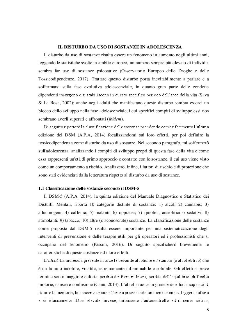Anteprima della tesi: Il disturbo da uso di sostanze in adolescenza: lettura e prevenzione alla luce della teoria dell'attaccamento, Pagina 5