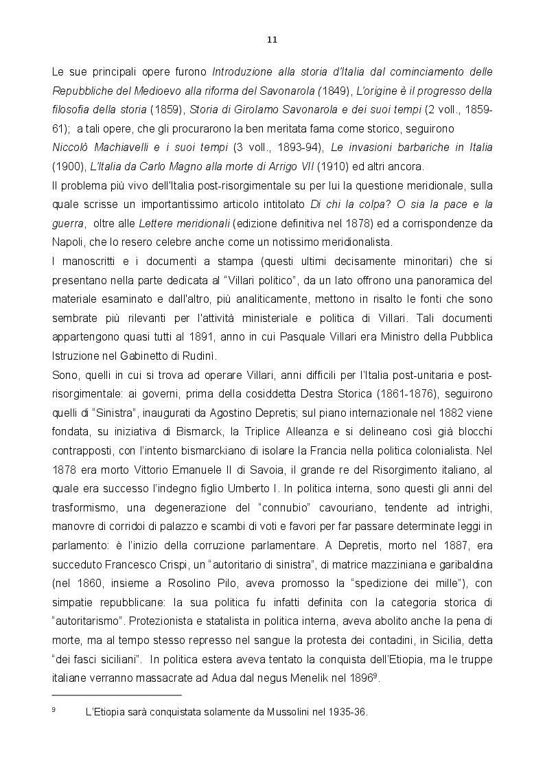 Estratto dalla tesi: Le carte Villari all'Accademia Toscana di Scienze e Lettere ''La Colombaria''
