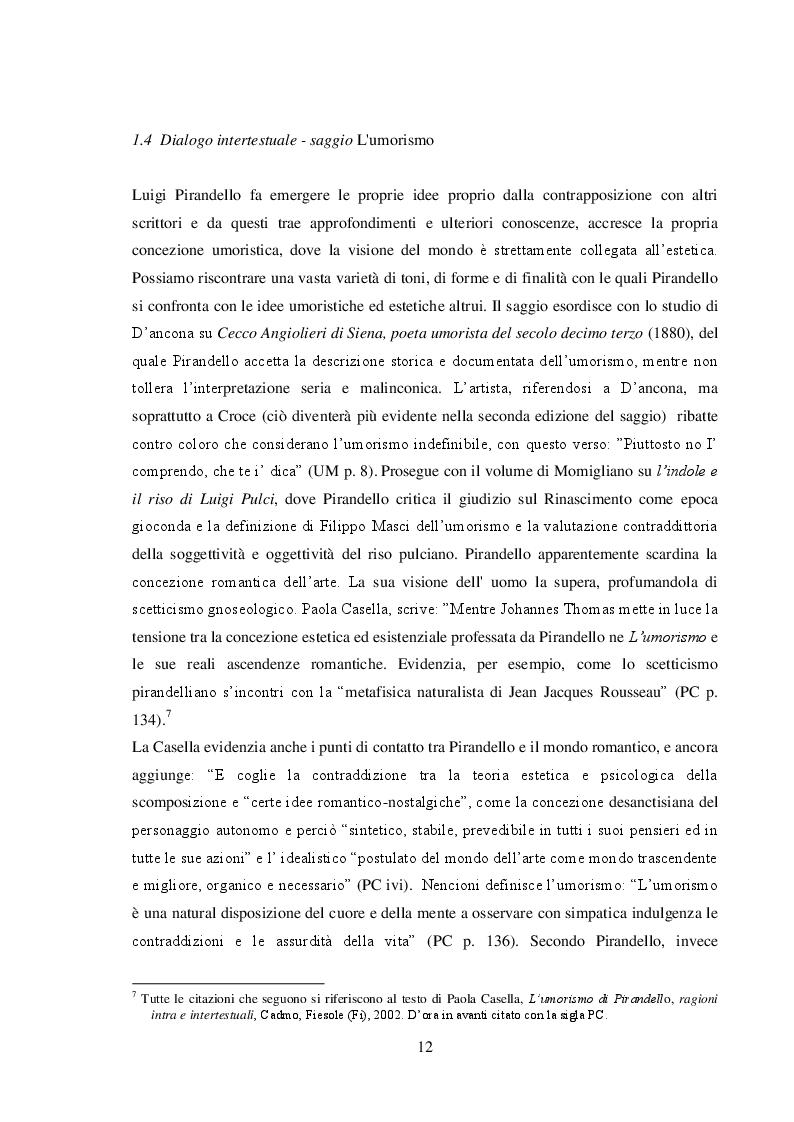 """Anteprima della tesi: """"L'umorismo"""" di Pirandello tra saggio e romanzo, Pagina 2"""