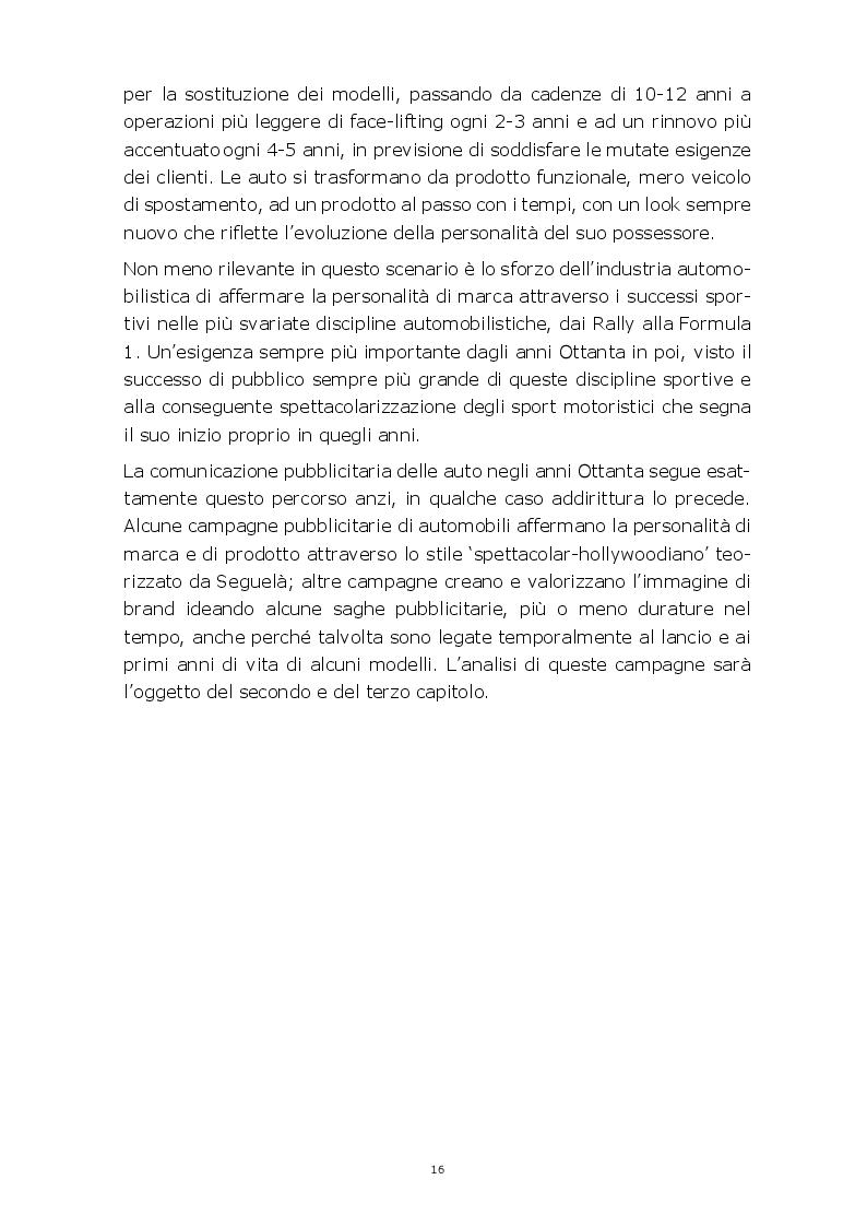 Anteprima della tesi: Evoluzione della comunicazione pubblicitaria del settore automobilistico in Italia dagli anni Settanta ad oggi, Pagina 13