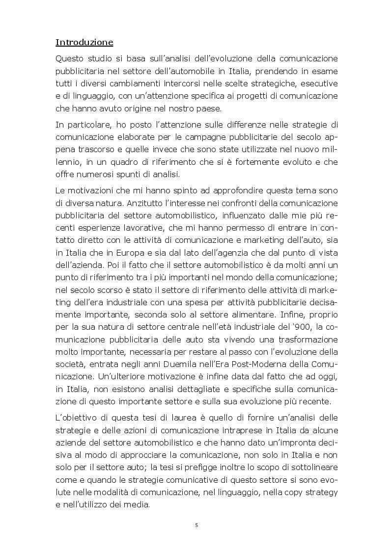 Anteprima della tesi: Evoluzione della comunicazione pubblicitaria del settore automobilistico in Italia dagli anni Settanta ad oggi, Pagina 2