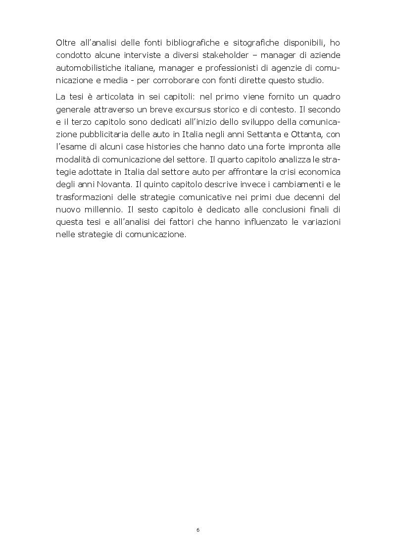 Anteprima della tesi: Evoluzione della comunicazione pubblicitaria del settore automobilistico in Italia dagli anni Settanta ad oggi, Pagina 3