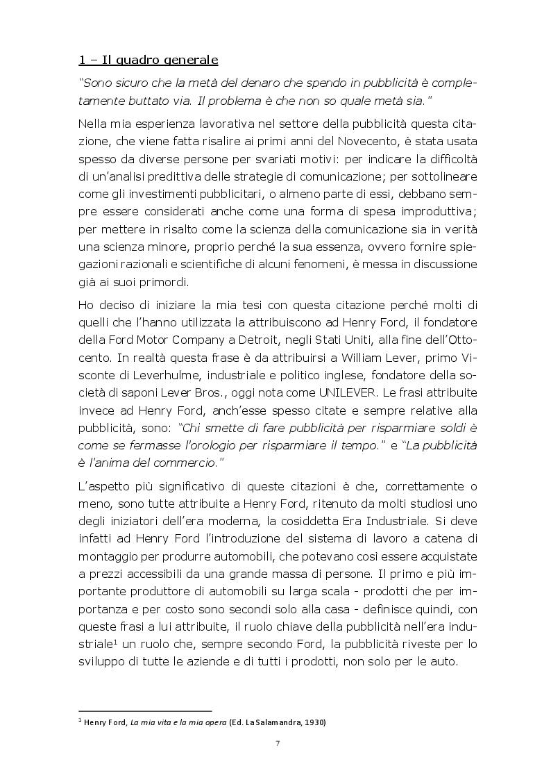 Anteprima della tesi: Evoluzione della comunicazione pubblicitaria del settore automobilistico in Italia dagli anni Settanta ad oggi, Pagina 4