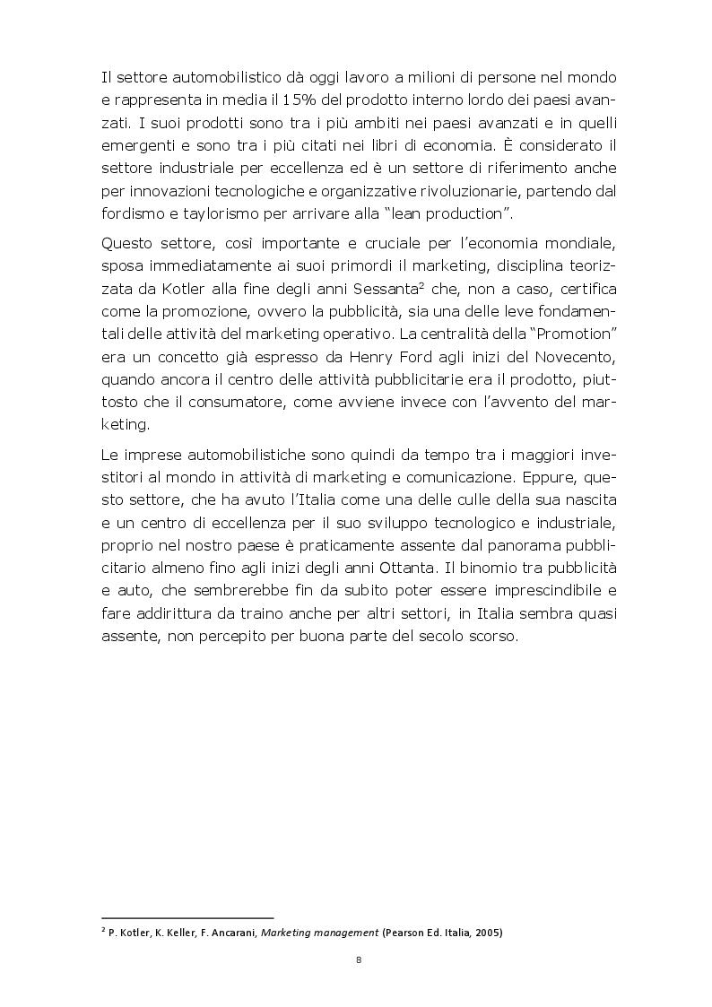Anteprima della tesi: Evoluzione della comunicazione pubblicitaria del settore automobilistico in Italia dagli anni Settanta ad oggi, Pagina 5
