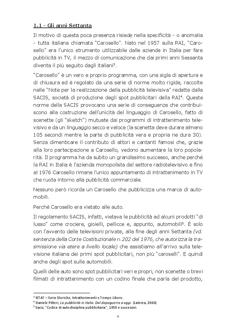 Anteprima della tesi: Evoluzione della comunicazione pubblicitaria del settore automobilistico in Italia dagli anni Settanta ad oggi, Pagina 6