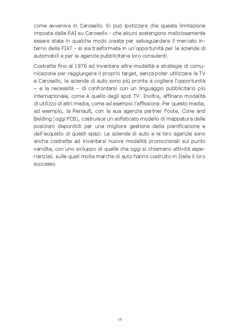 Anteprima della tesi: Evoluzione della comunicazione pubblicitaria del settore automobilistico in Italia dagli anni Settanta ad oggi, Pagina 7