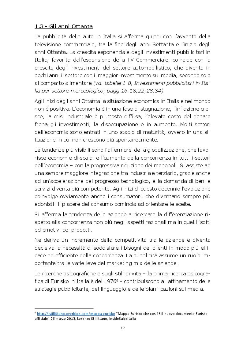 Anteprima della tesi: Evoluzione della comunicazione pubblicitaria del settore automobilistico in Italia dagli anni Settanta ad oggi, Pagina 9