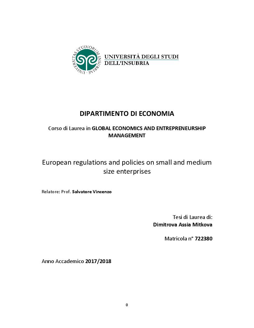 Anteprima della tesi: European regulations and policies on small and medium size enterprises, Pagina 1