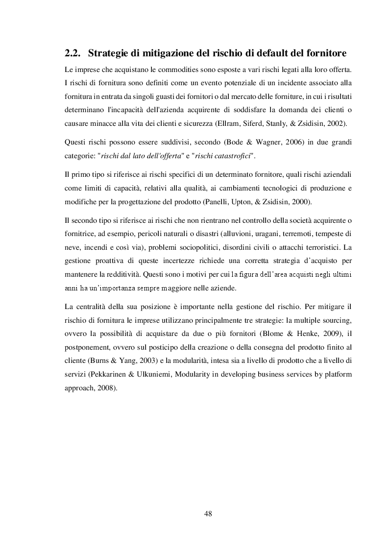 Anteprima della tesi: La gestione del commodity price risk e del supplier default risk: il punto di vista della supply chain, Pagina 7