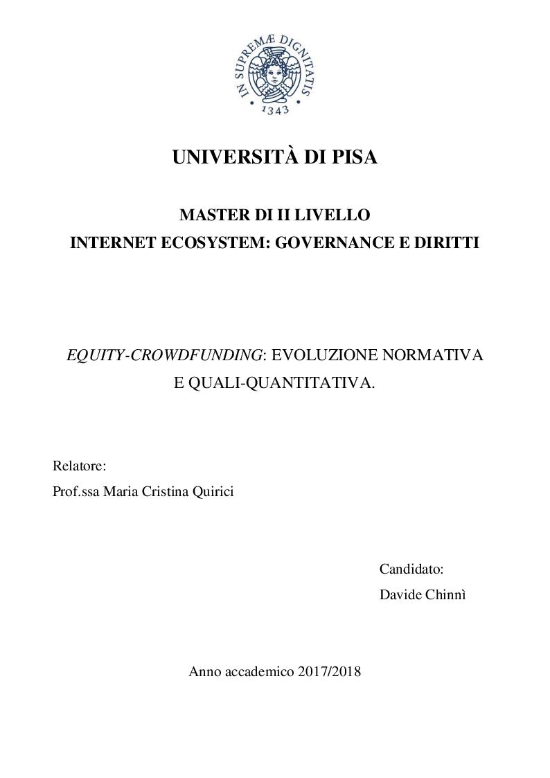 Anteprima della tesi: Equity-crowdfunding: evoluzione normativa e quali-quantitativa, Pagina 1