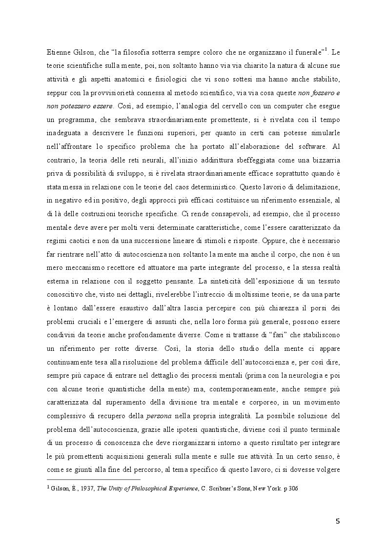 Anteprima della tesi: Modelli quantistici della mente, Pagina 3