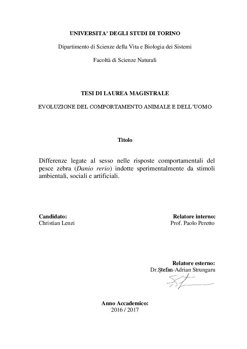 Anteprima della tesi: Differenze legate al sesso nelle risposte comportamentali del pesce zebra (Danio rerio) indotte sperimentalmente da stimoli ambientali, sociali e artificiali, Pagina 1