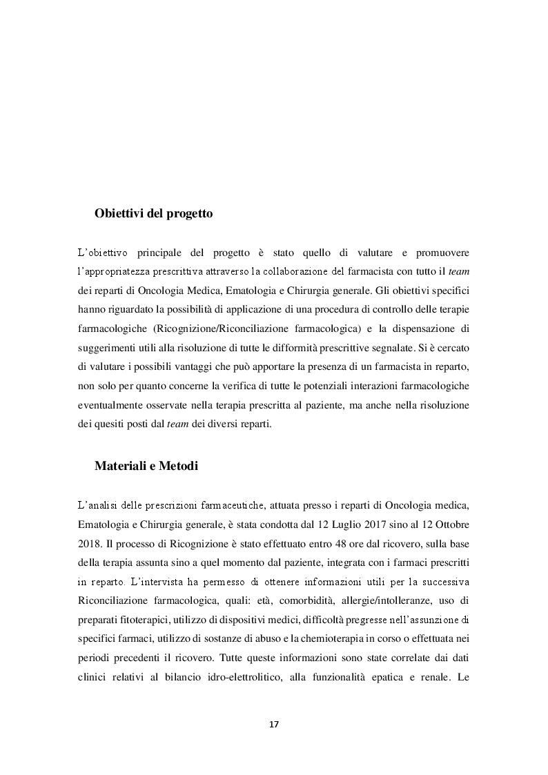 Anteprima della tesi: Riconciliazione della terapia Farmacologica in oncologia: esperienza dell'I.R.C.C.S. Istituto Tumori Bari, Pagina 2