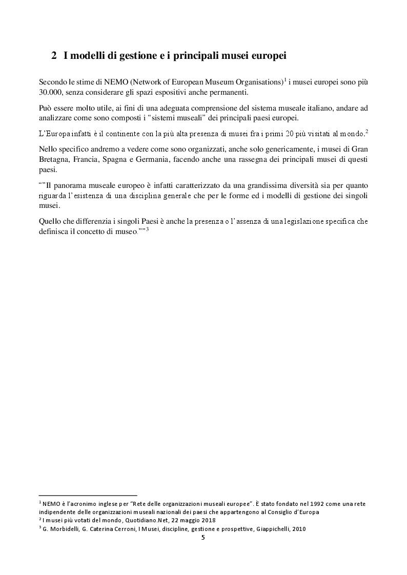 Anteprima della tesi: Analisi del sistema museale italiano e confronto con i principali modelli europei, Pagina 3