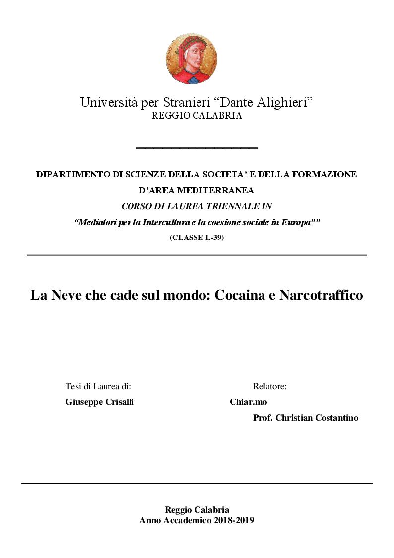 Anteprima della tesi: La Neve che cade sul mondo : Cocaina e Narcotraffico, Pagina 1