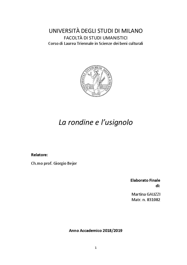 Anteprima della tesi: La rondine e l'usignolo, Pagina 1