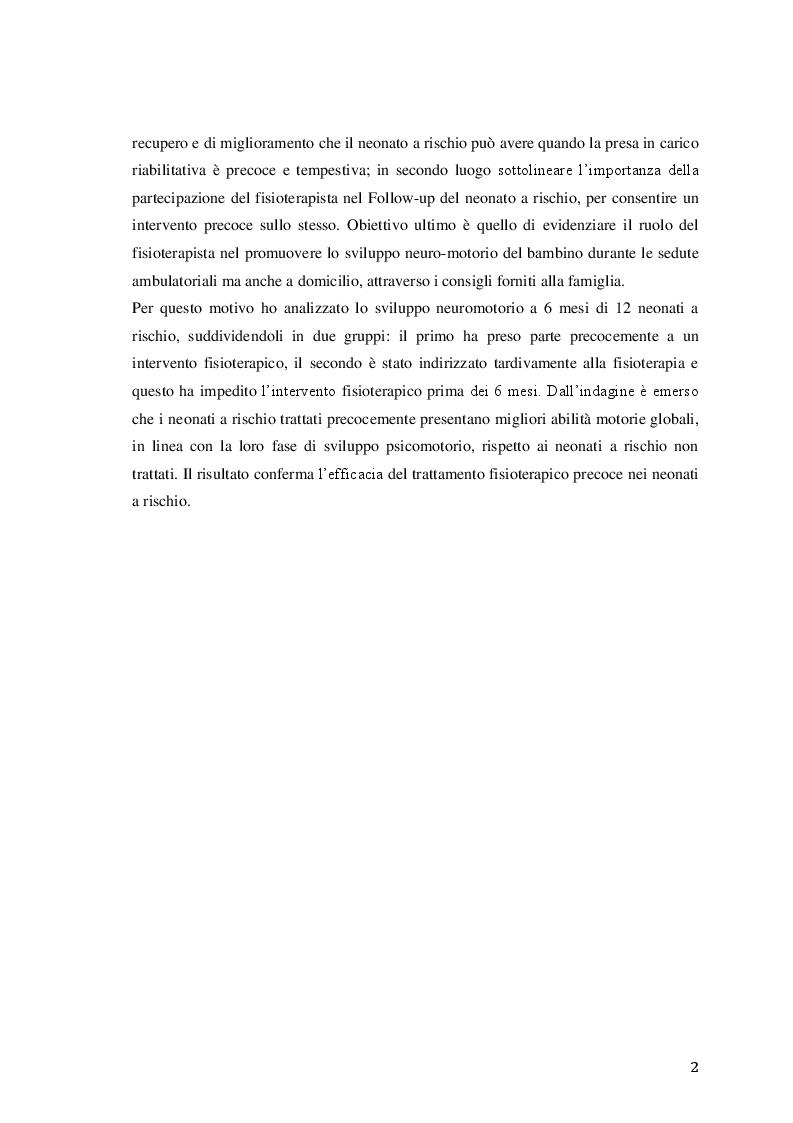 Anteprima della tesi: Efficacia del trattamento fisioterapico precoce sullo sviluppo neuromotorio del neonato a rischio, Pagina 3