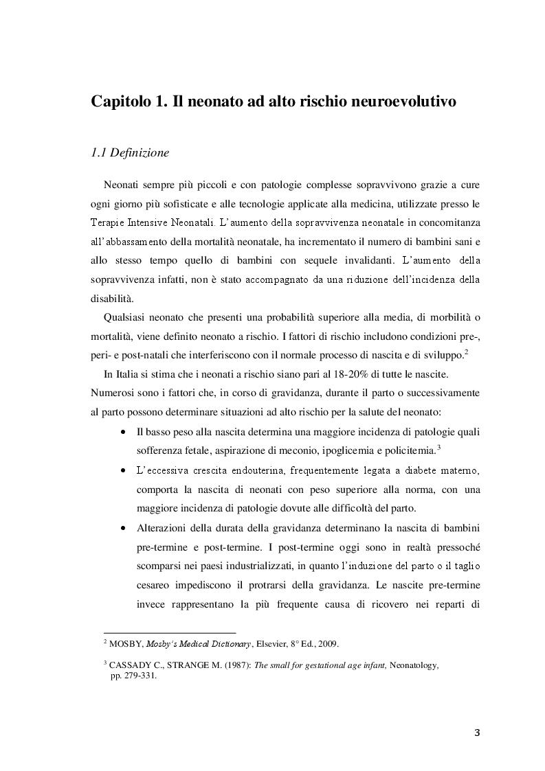 Anteprima della tesi: Efficacia del trattamento fisioterapico precoce sullo sviluppo neuromotorio del neonato a rischio, Pagina 4