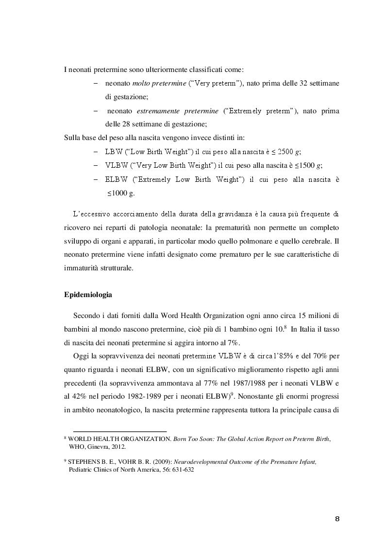 Anteprima della tesi: Efficacia del trattamento fisioterapico precoce sullo sviluppo neuromotorio del neonato a rischio, Pagina 9