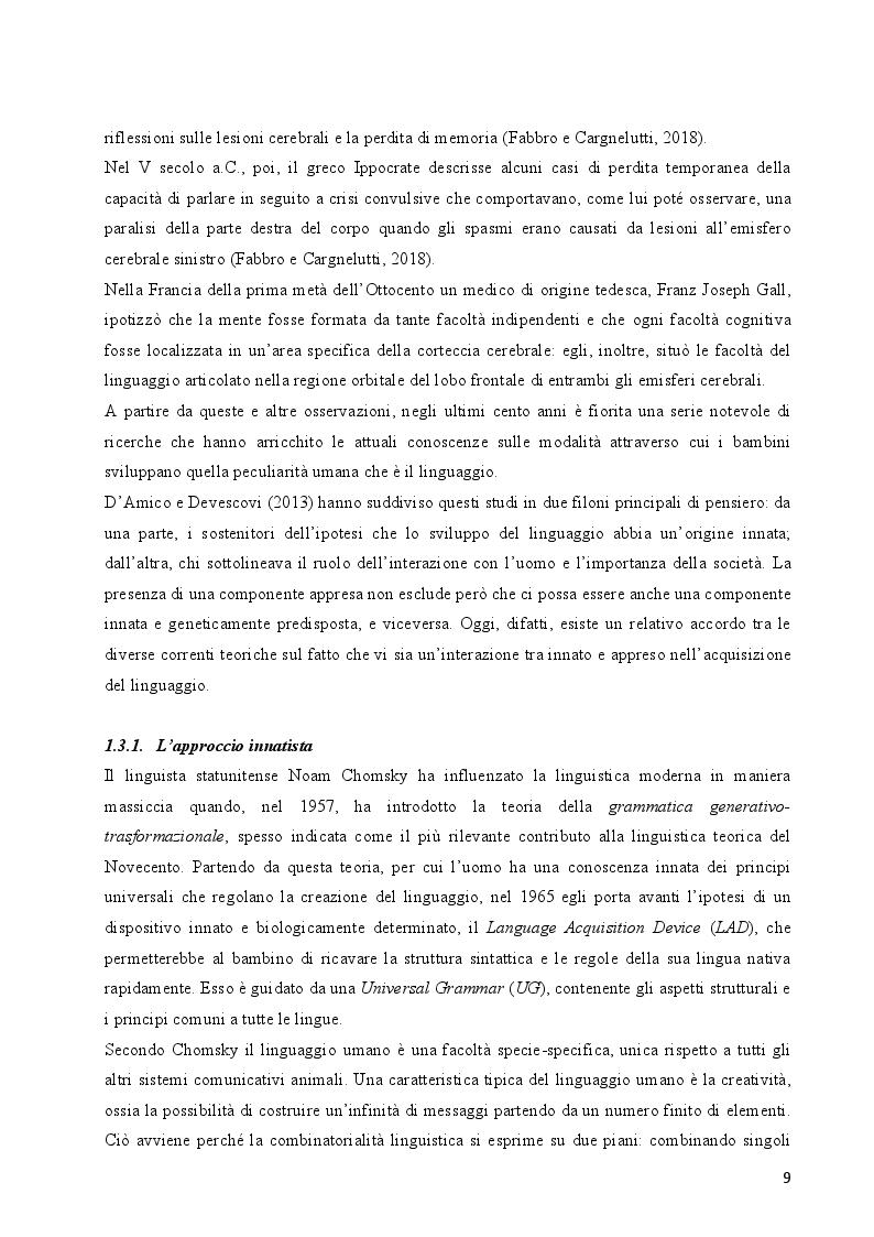 Anteprima della tesi: I bambini bilingui con disturbi del linguaggio. Una literature review delle principali strategie didattiche ed educative, Pagina 8
