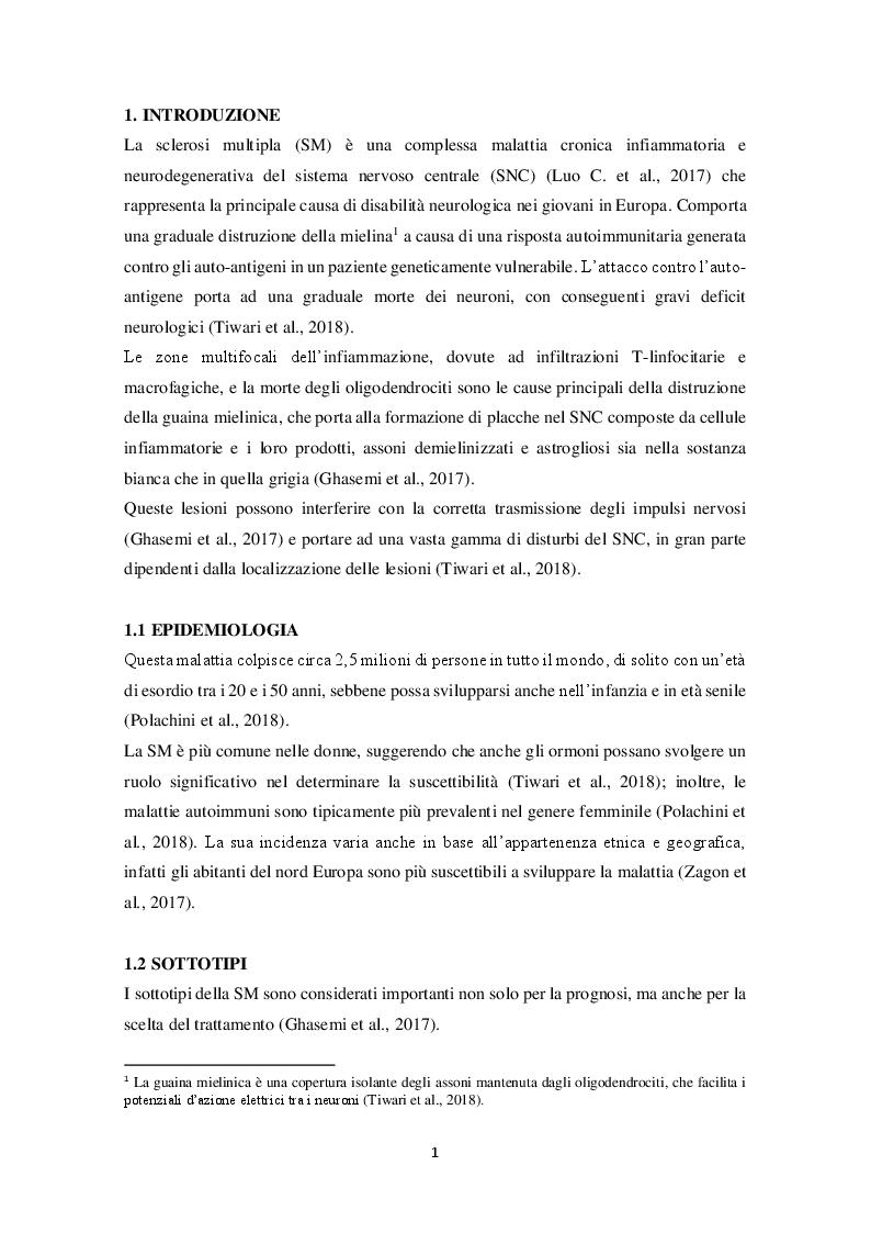 Anteprima della tesi: L'utilizzo della cannabis nel trattamento della sclerosi multipla, Pagina 2