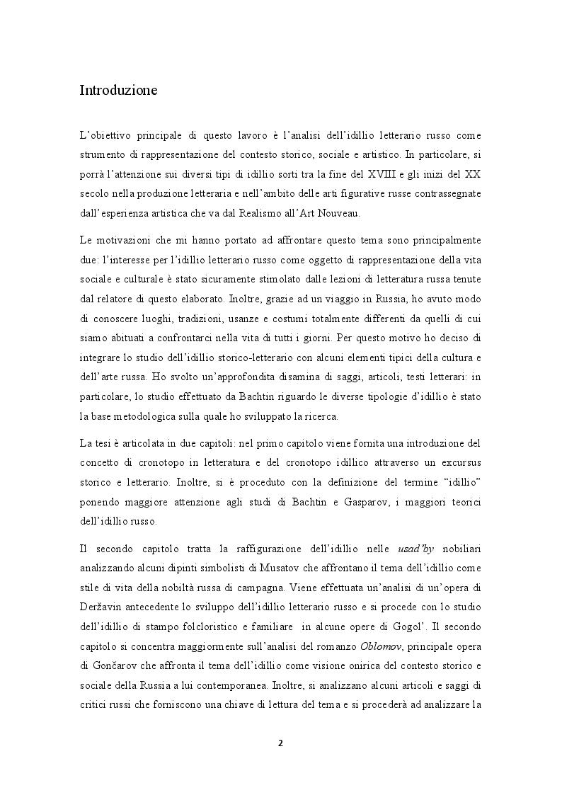 Anteprima della tesi: L'idillio letterario russo: un'analisi sulla sua evoluzione storica e culturale tra XIX e XX secolo, Pagina 2
