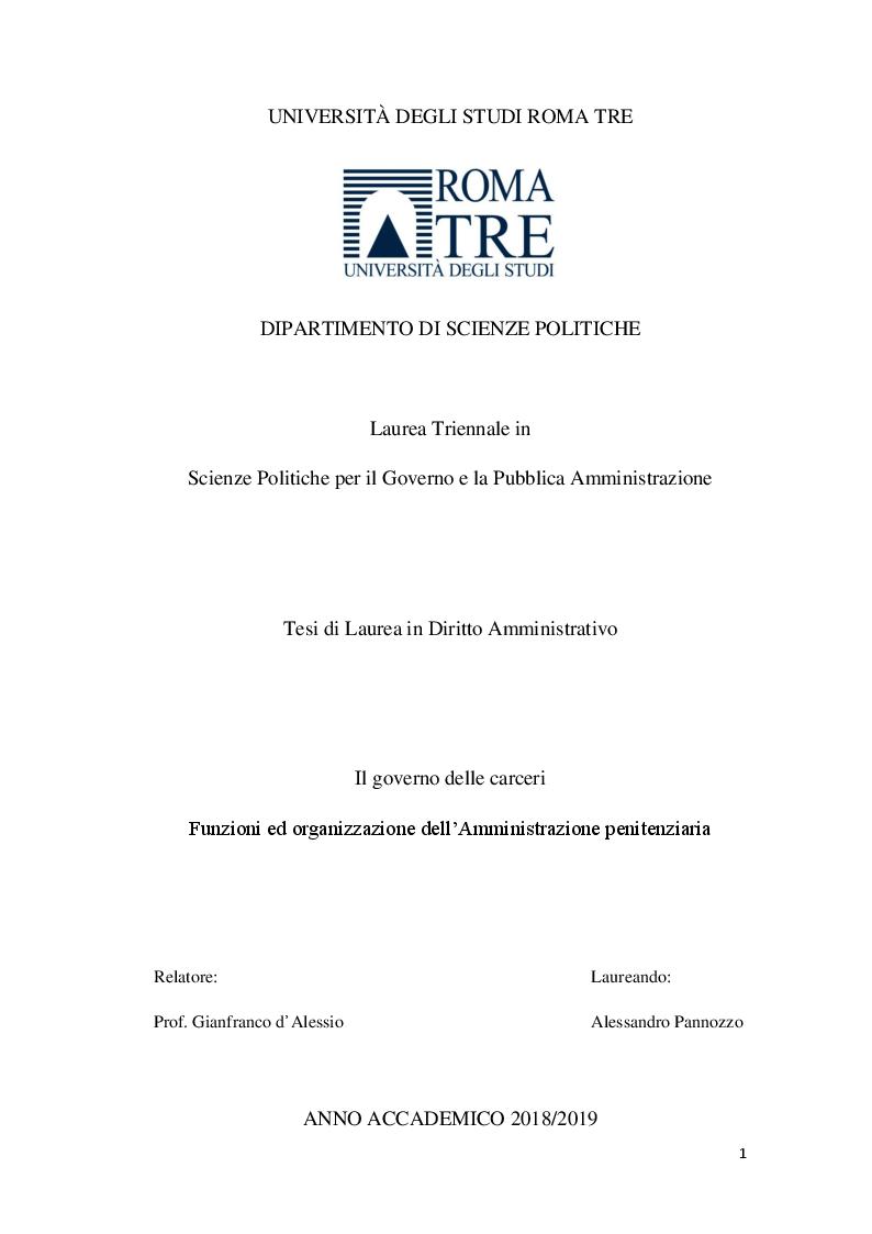Anteprima della tesi: Il governo delle carceri. Organizzazione e funzioni dell'Amministrazione Penitenziaria., Pagina 1