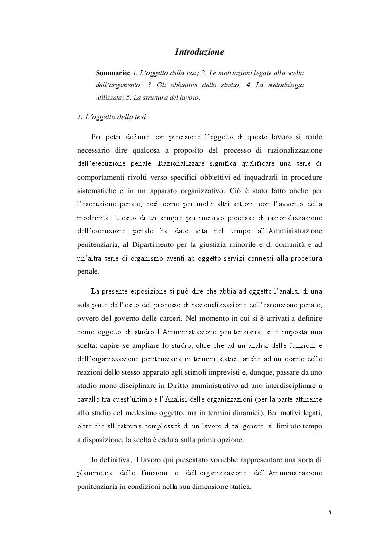 Anteprima della tesi: Il governo delle carceri. Organizzazione e funzioni dell'Amministrazione Penitenziaria., Pagina 2