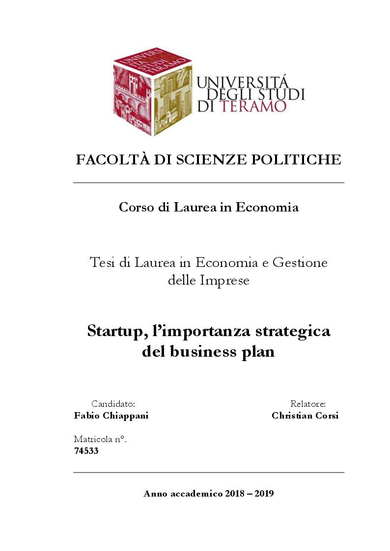 Anteprima della tesi: Startup, l'importanza strategica del business plan, Pagina 1