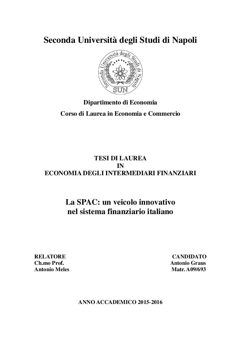 Anteprima della tesi: La SPAC: un veicolo innovativo nel sistema finanziario italiano, Pagina 1