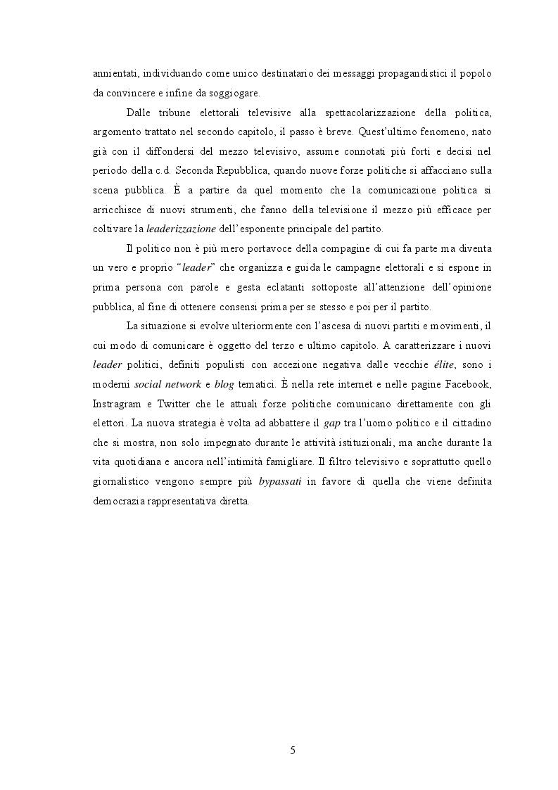 Anteprima della tesi: Dalle piazze a twitter, analisi dell'evoluzione della comunicazione politica in Italia, Pagina 3