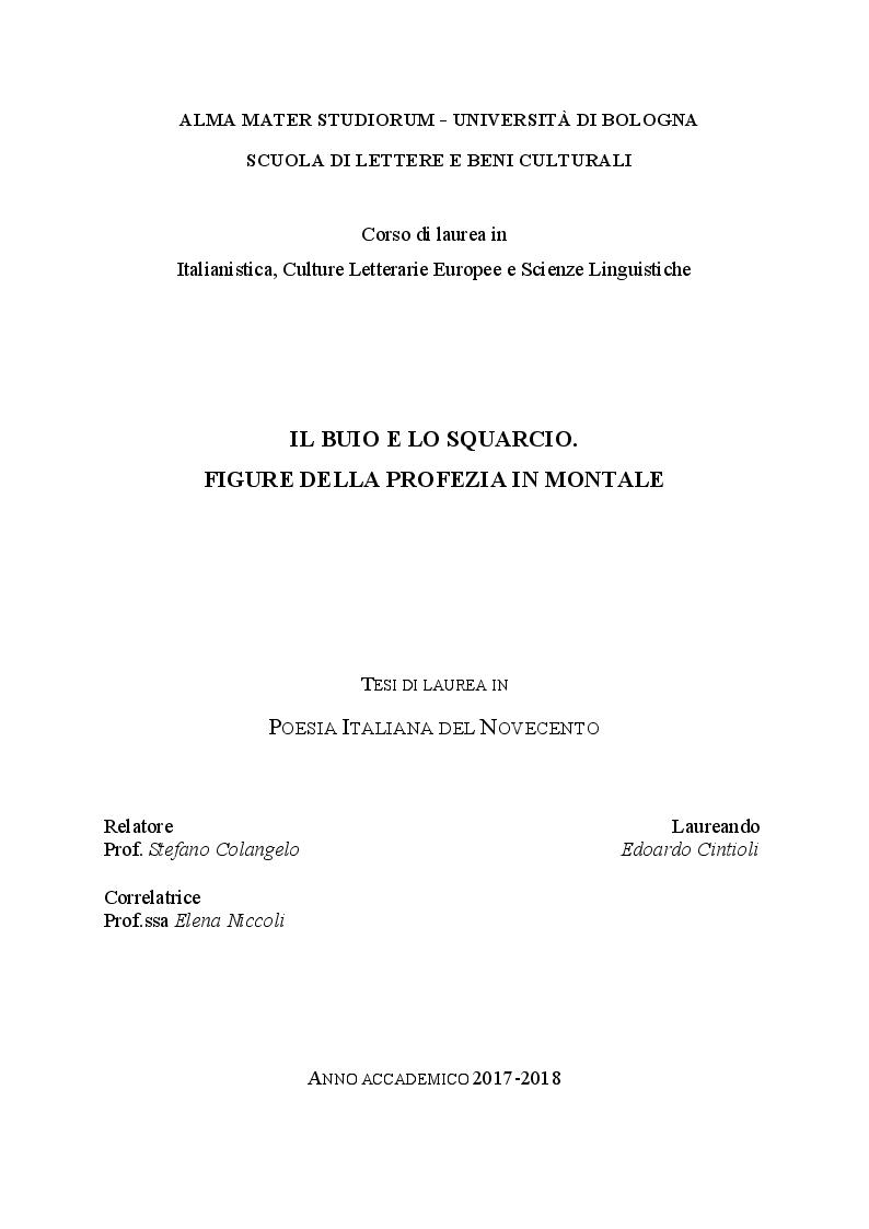 Anteprima della tesi: Il buio e lo squarcio. Figure della profezia in Montale, Pagina 1