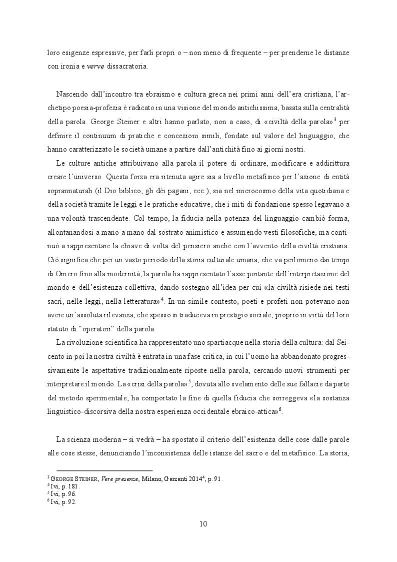 Anteprima della tesi: Il buio e lo squarcio. Figure della profezia in Montale, Pagina 6