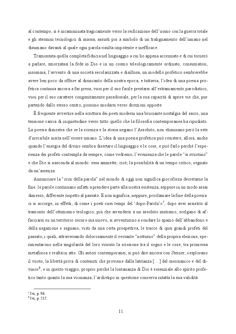 Anteprima della tesi: Il buio e lo squarcio. Figure della profezia in Montale, Pagina 7