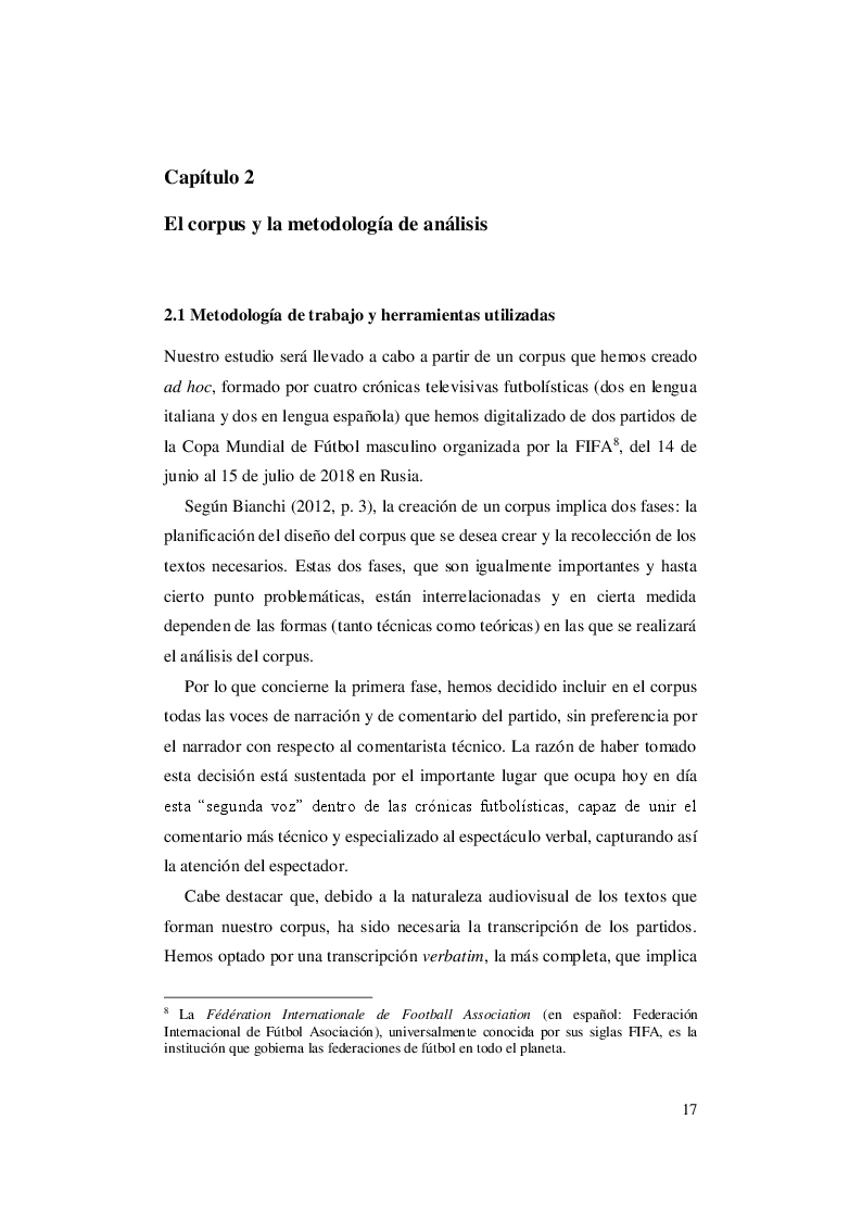 Anteprima della tesi: El lenguaje del fútbol: un abordaje contrastivo italiano - español de las crónicas futbolísticas del Mundial de Rusia de 2018, Pagina 2