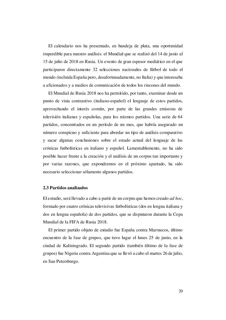 Anteprima della tesi: El lenguaje del fútbol: un abordaje contrastivo italiano - español de las crónicas futbolísticas del Mundial de Rusia de 2018, Pagina 5
