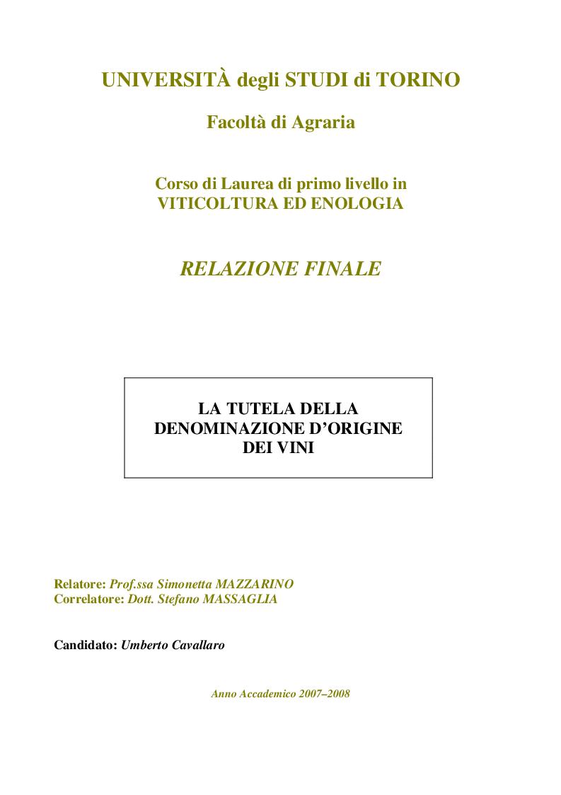 Anteprima della tesi: La Tutela della Denominazione d'Origine dei Vini, Pagina 1