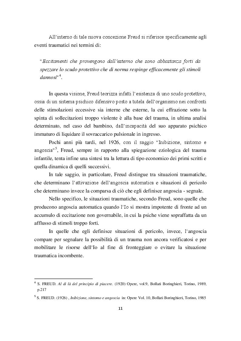 Estratto dalla tesi: I Disturbi reattivi dello sviluppo: Traumi psichici e Disturbo post traumatico da stress