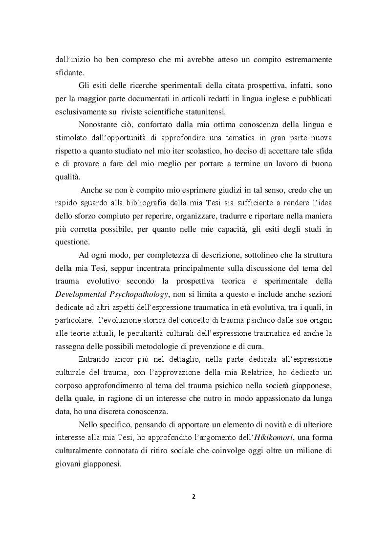 Anteprima della tesi: I Disturbi reattivi dello sviluppo: Traumi psichici e Disturbo post traumatico da stress, Pagina 3